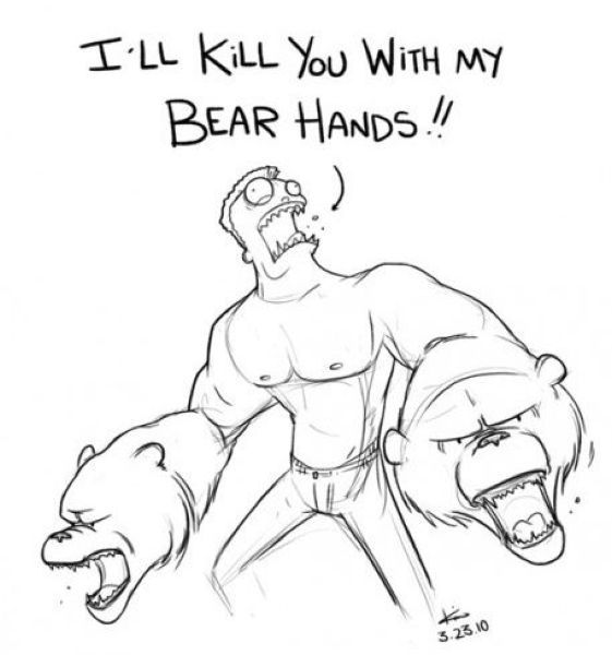 bear hands, bare hands, bear pun drawing sketch